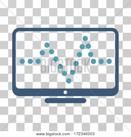 Pulse Chart vector pictogram. Illustration style is flat iconic bicolor cyan and blue symbol on a transparent background.