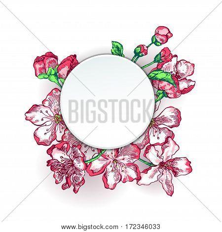 Vector Illustration of Apple tree sketch for Design, Website, Background, Banner.Hand drawn flower Elements. Vintage Spring Template