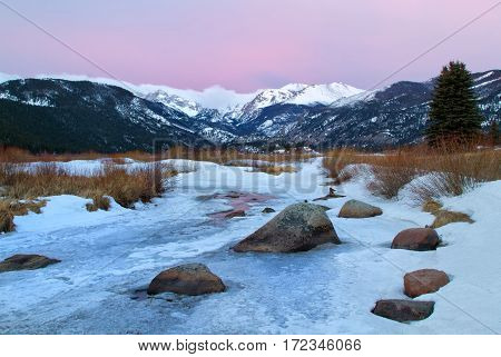 Sunrise on The Big Thompson River and Moraine Park located in Rocky Mountain National Park Estes Park Colorado