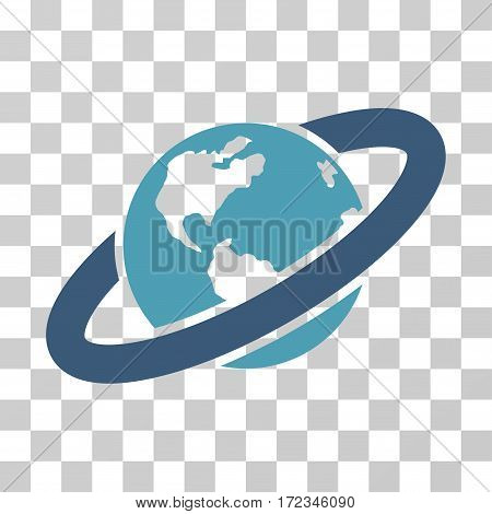 Ringed Planet vector pictograph. Illustration style is flat iconic bicolor cyan and blue symbol on a transparent background.