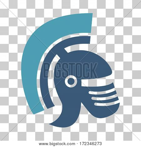 Rome Helmet vector icon. Illustration style is flat iconic bicolor cyan and blue symbol on a transparent background.