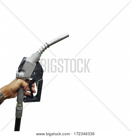 Hand holding a fuel nozzle isolated on white background with clipping path.