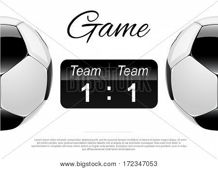 Soccer or Football Black Banner With 3d Ball and Scoreboard.
