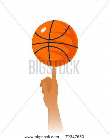 Basketball skills closeup including rotating ball with black lines on index finger on white background vector illustration