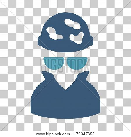 Spotted Spy vector pictograph. Illustration style is flat iconic bicolor cyan and blue symbol on a transparent background.