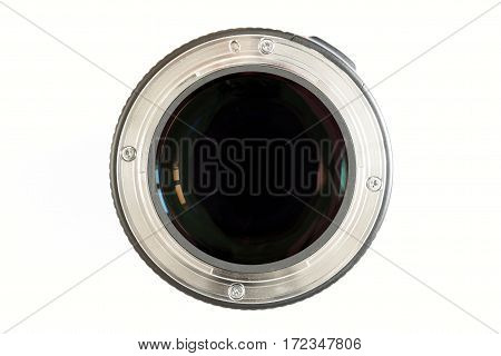 Camera photo lens close-up on white background with lense reflections.
