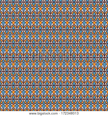Retro seamless pattern.  cream, blue, yellow, red-brown background