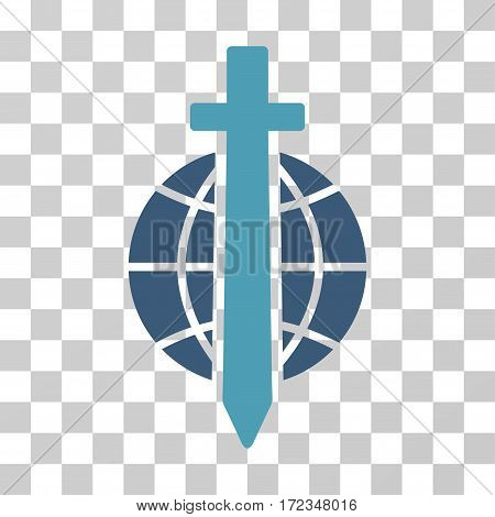 Sword Globe vector pictogram. Illustration style is flat iconic bicolor cyan and blue symbol on a transparent background.