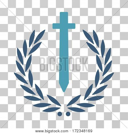 Sword Honor Embleme vector pictograph. Illustration style is flat iconic bicolor cyan and blue symbol on a transparent background.