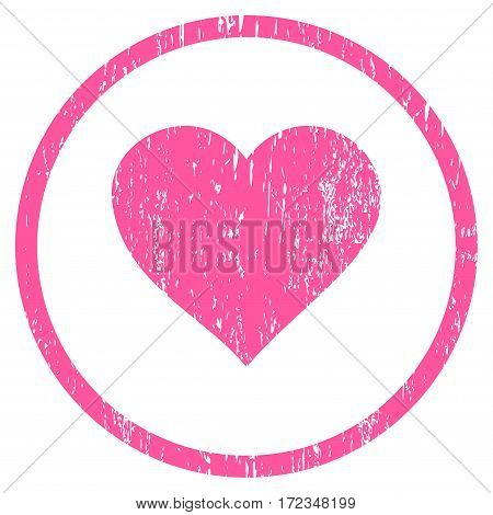 Valentine Heart grainy textured icon for overlay watermark stamps. Rounded flat vector symbol with scratched texture. Circled pink ink rubber seal stamp with grunge design on a white background.