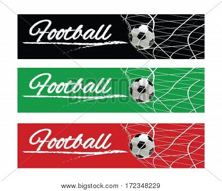 Soccer or Football Black Banner With 3d Ball in the Net and Scoreboard on Green Background