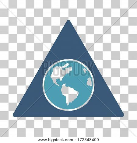 Terra Triangle vector pictograph. Illustration style is flat iconic bicolor cyan and blue symbol on a transparent background.