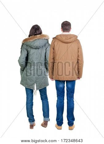 Back view group of people in jacket. Rear view team people collection.  backside view of person.  Isolated over white background.