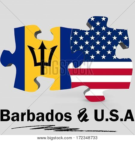 Usa And Barbados Flags In Puzzle
