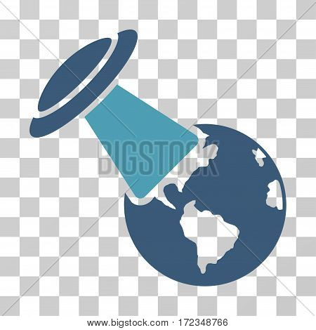 UFO Explores Earth vector pictograph. Illustration style is flat iconic bicolor cyan and blue symbol on a transparent background.