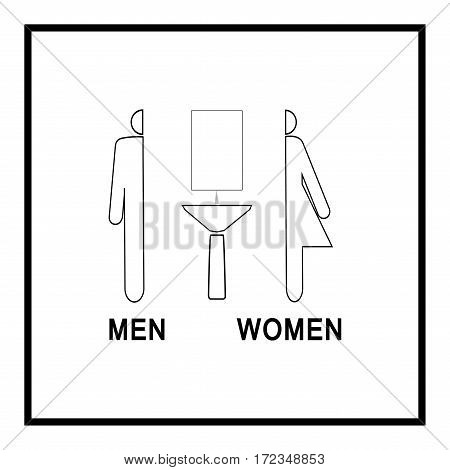 Silhouette men and women icon on white background. Icon bathroom for hygiene. Sign restroom women and men. Symbol public bathroom. Template for postersign. Flat vector image. Vector illustration