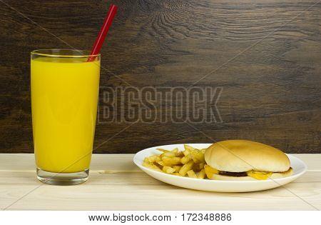 cheeseburger orange juice healthy food junk food fast food food cheese meat loaf bread