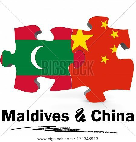 China And Maldives Flags In Puzzle