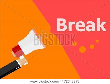 Flat Design Business Concept. Break. Digital Marketing Business Man Holding Megaphone For Website An