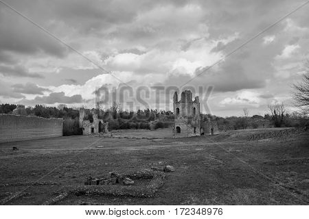 Circus of Maxientuns ruins along Old Appian Way with beautiful clouds (black and white)