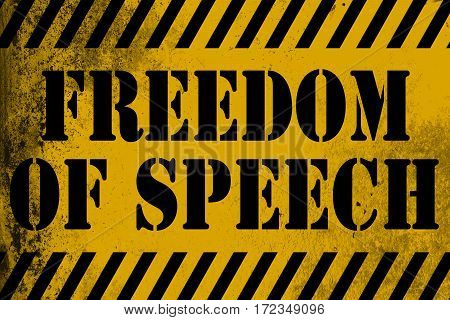 Freedom Of Speech Sign Yellow With Stripes