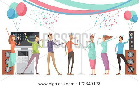 Karaoke party concept with group of friends singing flat vector illustration