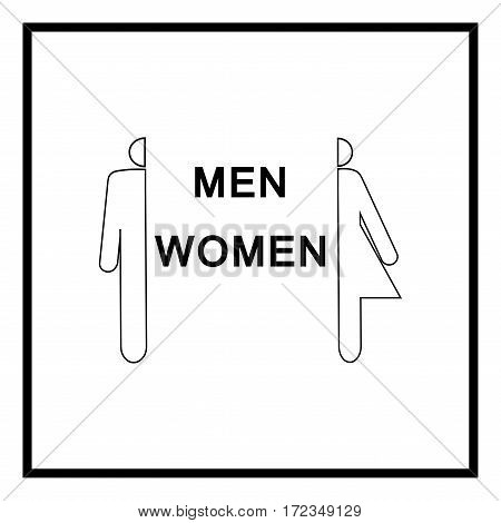Silhouette men and women icon in square on white background. Sign restroom women and men. Symbol public washroom and bathroom. Template for postersign. Flat vector image. Vector illustration
