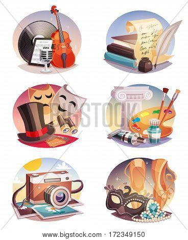 Arts set of round compositions with music and dancing literature theatre painting and photography isolated vector illustration