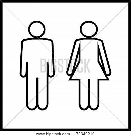 Silhouette men and women on white background. WC icon. Icon public toilette and bathroom for hygiene. Sign restroom women and men. Template for postersign. Flat vector image. Vector illustration.