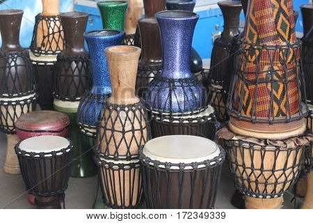 group of drums placed in musical concept