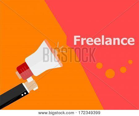 Flat Design Business Concept. Freelance. Digital Marketing Business Man Holding Megaphone For Websit