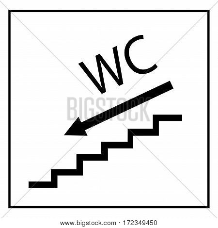 WC icon and arrow left in black square on white background. Sign restroom women and men. Symbol public washroom and bathroom. Template for postersign. Flat vector image. Vector illustration.