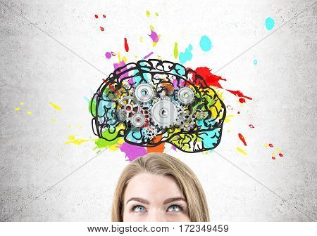 Close Up Of Woman Head With Brain And Cogs