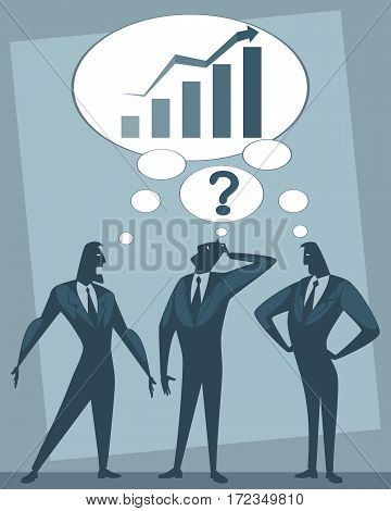 Vector illustration of a discussion of three businessmen