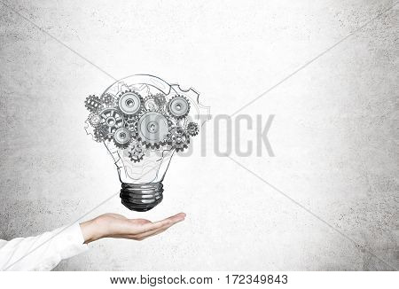 Woman Hand, Light Bulb, Gears