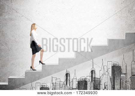 Side view of a woman wearing a black skirt and a white blouse and climbing stairs. There is a city sketch on a concrete wall. Mock up