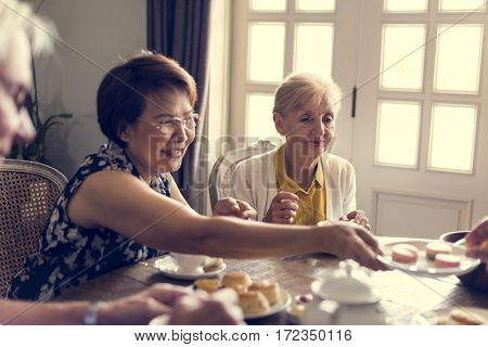 Senior Lifestyle Tea Break Togetherness