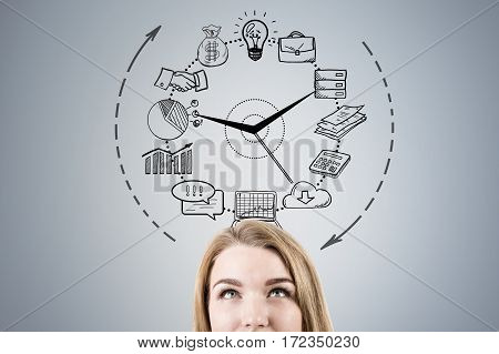 Close Up Of Woman Head And Business Clock
