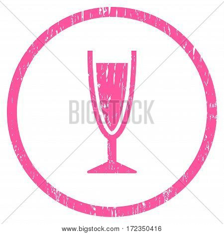 Wine Glass grainy textured icon for overlay watermark stamps. Rounded flat vector symbol with dirty texture. Circled pink ink rubber seal stamp with grunge design on a white background.