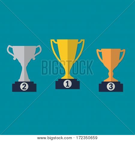 Gold, Silver and Bronze Trophy Cup on prize podium. First place award. Different champions or winners cups in flat style. Vector illustration.