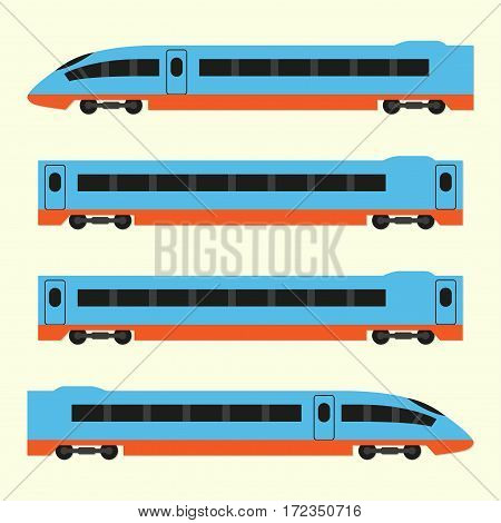 Train in flat style. Vector illustration of modern high-speed train.
