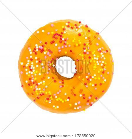 Donut With Orange Glaze And Colorful Sprinkles