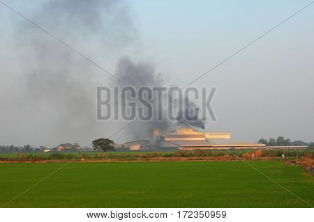 Carbon Monoxide form factory in rice field