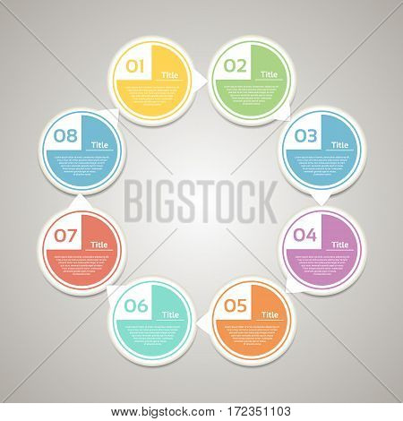 Template for diagram graph presentation and chart. Business concept with 8 options parts steps or processes. Vector infographic