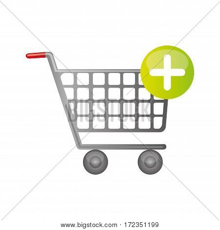 color silhouette with shopping cart and plus sign vector illustration