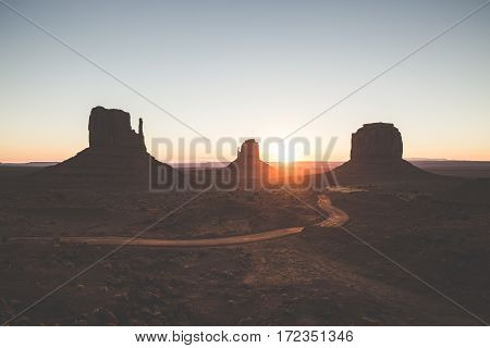 Monument Valley At Sunrise, Arizona, Usa