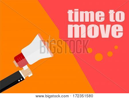 Flat Design Business Concept. Time To Move. Digital Marketing Business Man Holding Megaphone For Web