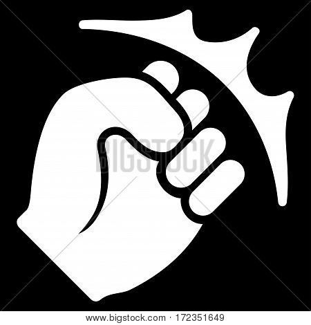 Fist Strike vector icon. Flat white symbol. Pictogram is isolated on a black background. Designed for web and software interfaces.