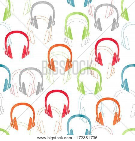 Earphones seamless pattern. Vector colorful music background with headphones.