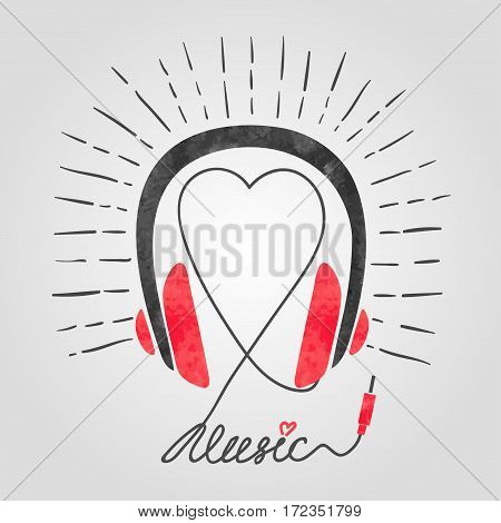 Earphones with heart. Music vector illustration with headphones.